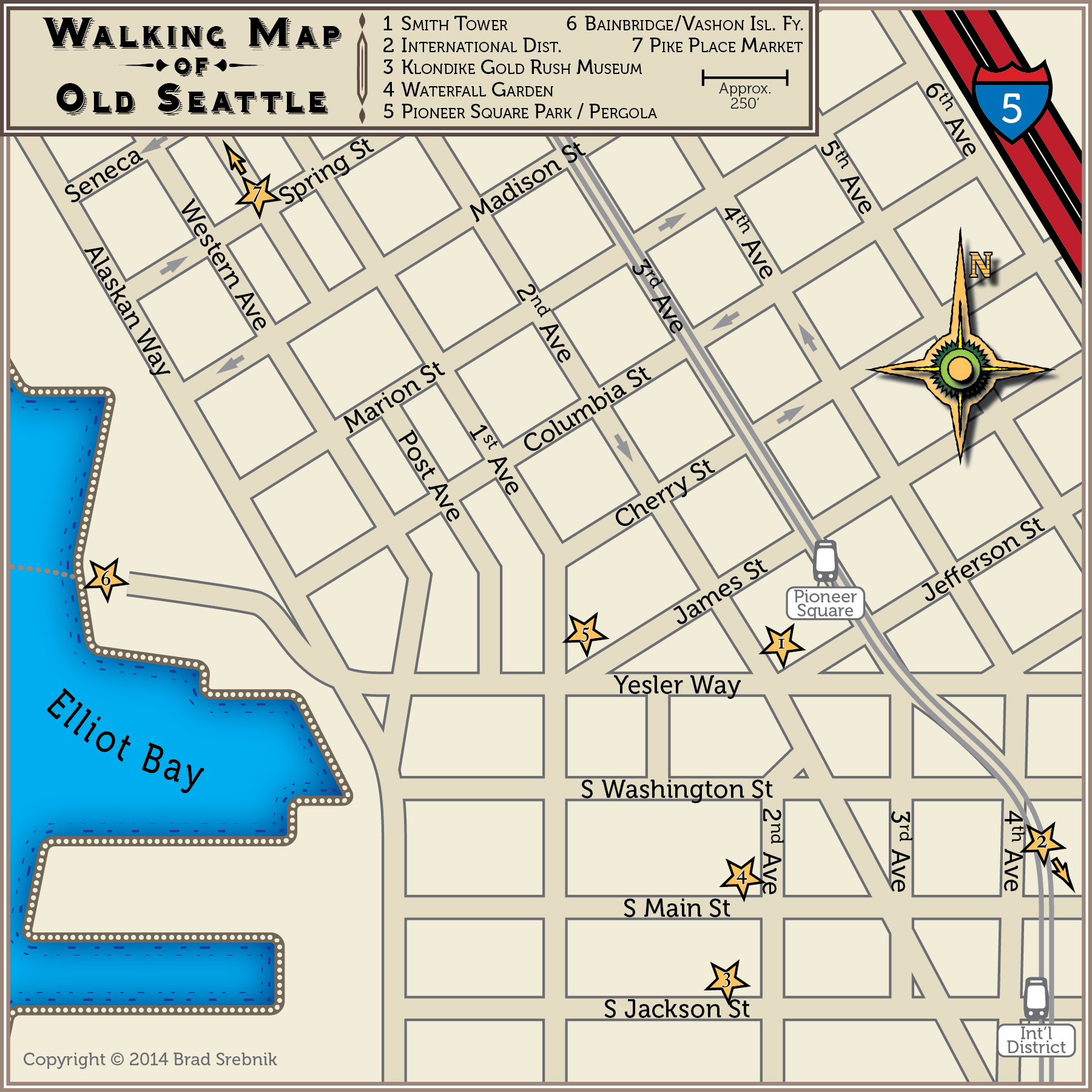 Aurelian Design Custom Map Designer – Seattle Washington Map Tourist